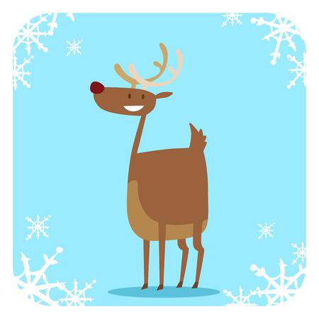 reno: Santa Claus de dibujos animados feliz Navidad ciervos icono plana.