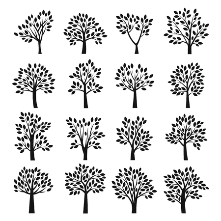 Stylized black and white vector tree icons.  Ilustração
