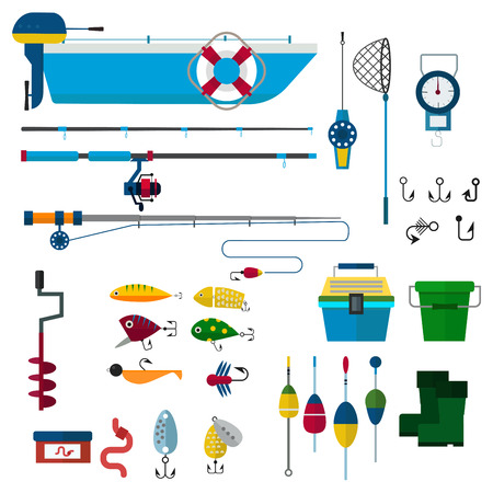 fishing boats: fishing vector icons illustration.  Illustration