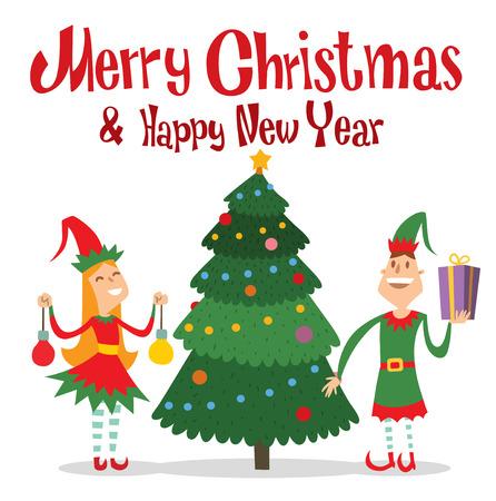weihnachtsmann lustig: Weihnachtsmann-Kinder Cartoon Elf Helfer Vektor-Illustration.
