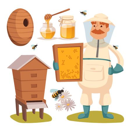 miel de abeja: ilustraciones vectoriales apicultor apiario.