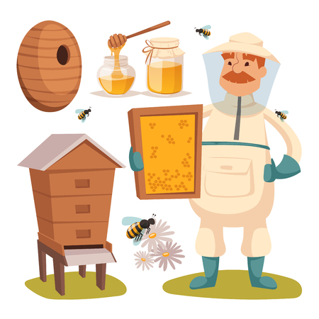 Apiary beekeeper vector illustrations.