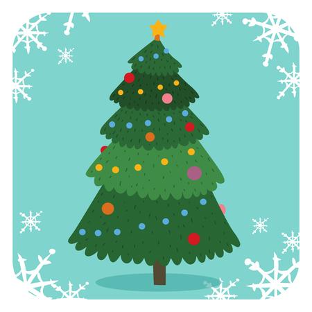 Christmas tree flat design vactor icon greeting card.  Illustration