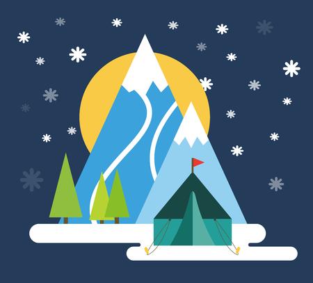 ski resort: Ski resort mountains, tracks, building winter season landscape vector illustration.