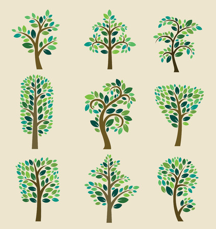 pine green: Stylized vector tree collection.