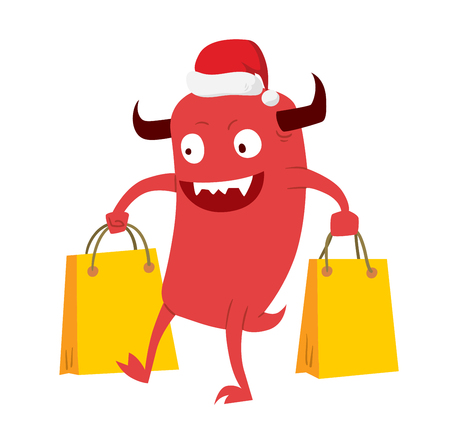 devil cartoon: Cartoon cute monsters Christmas sale shopping vector.  Illustration