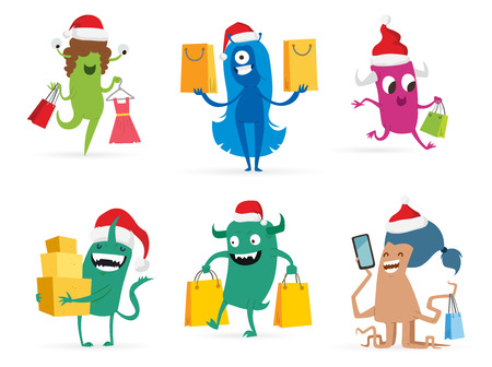 cute monster: Cartoon cute monsters Christmas sale shopping vector.  Illustration