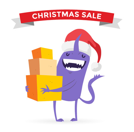 funny monster: Cartoon cute monsters Christmas sale shopping vector.  Illustration