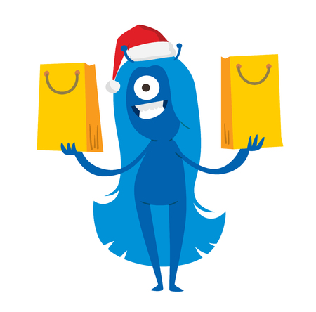 shoping bag: Cartoon cute monsters Christmas sale shopping vector.  Illustration