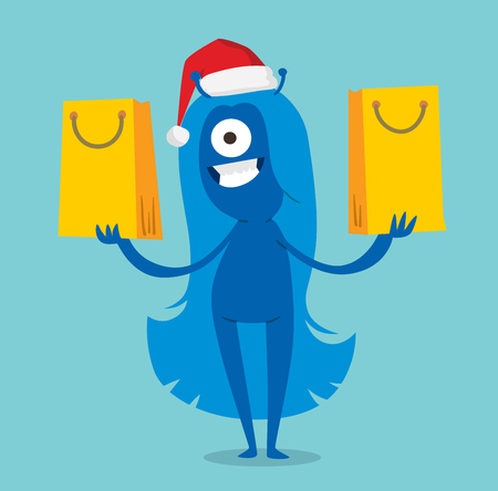 devil girl: Cartoon cute monsters Christmas sale shopping vector. set.