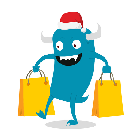 shoping bag: Cartoon cute monsters Christmas sale shopping vector.  Illustration