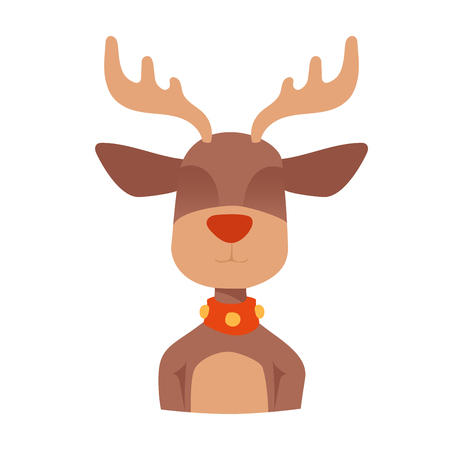 reindeers: Santa Claus happy cartoon Christmas deer flat icon.