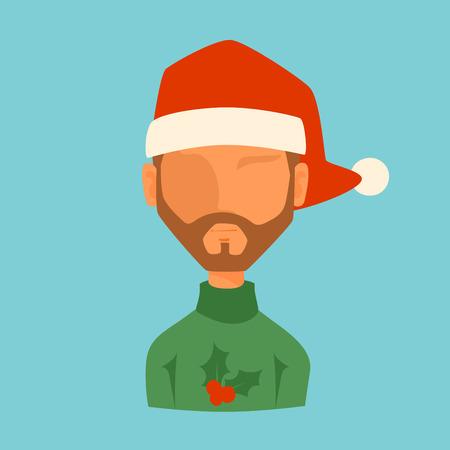 red hat: Man Christmas Santa red hat avatar face icon vector illustration. Illustration