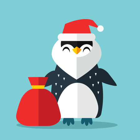 cartoon penguin: Penguin Sanata hat and gift sack vector illustration. Illustration