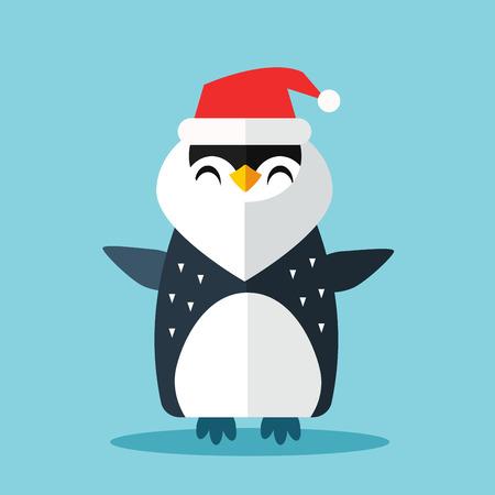 cartoon penguin: Penguin Sanata hat and gift sack vector illustration.