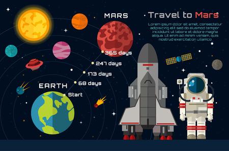 火星のインフォ グラフィックに宇宙旅行。  イラスト・ベクター素材