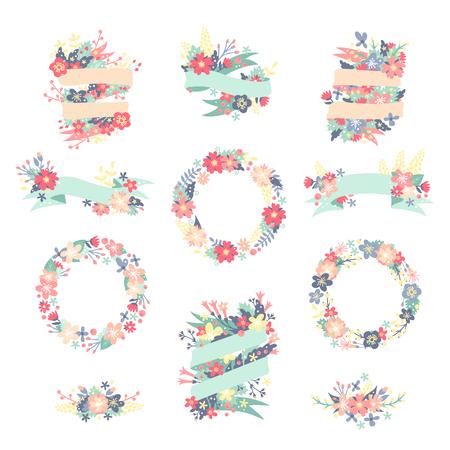dessin fleurs: fleurs Nature couronne avec des fleurs, des rubans de feuillage. Illustration