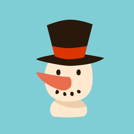 snowman cartoon: Snowman vector icon flat avatar.