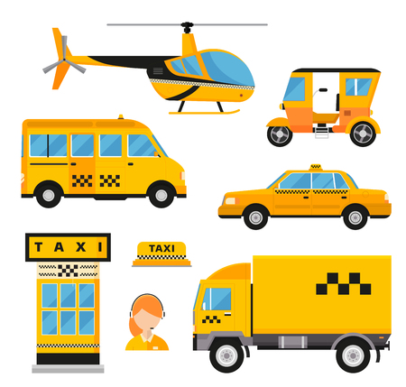 taxi sign: Different types of taxi transport.