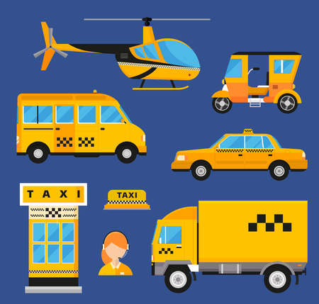 yellow taxi: Different types of taxi transport.