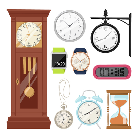 alarms: Clock watch alarms vector icons illustration.