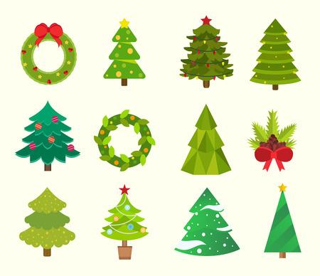Christmas tree icons set. Christmas tree vector.
