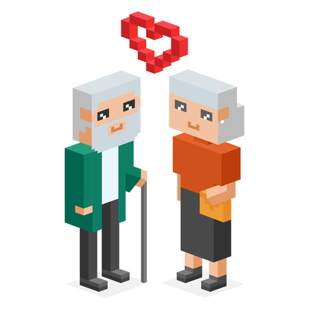 happy couple: 3d isometric old family couple in love celebrate wedding date.