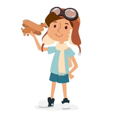 piloto: Pequeños niños vector de la historieta que juega la aviación piloto.