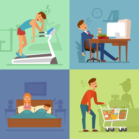 man and woman sex: Tired businessman sleeping on office table, sport gym, family bad, market.
