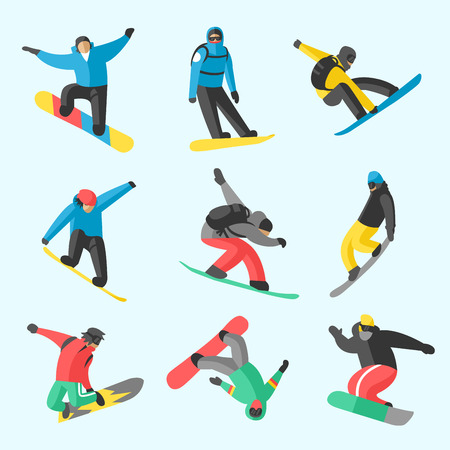 snowboarder: Snowboarder jumping different pose on white background.  Illustration