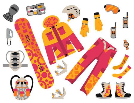 sport clothes: Snowboard sport clothes and tools elements.  Illustration