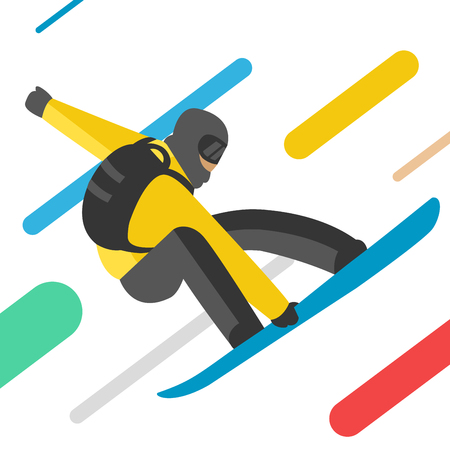 snowboarder: Snowboarder jumping pose isolated on background.