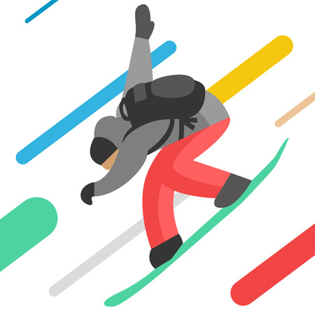 snowboarder jumping: Snowboarder jumping pose isolated on background.