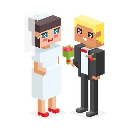 love concepts: 3d isometric family couples love wedding.