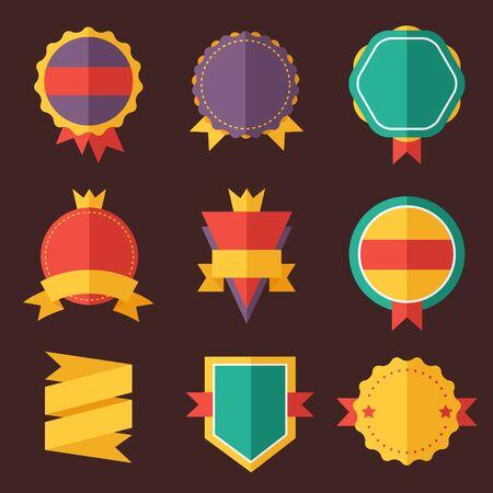 badge: Modern flat design badges collection. Vector badges flat modern style. Vintage, retro flat badges, labels and ribbons. Badges isolated, modern flat solid style. Badges icons, badges logo. Badges icons Illustration