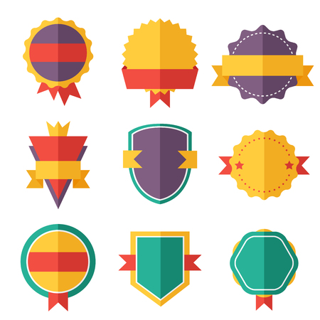 vintage badge: Modern flat design badges collection. Vector badges flat modern style. Vintage, retro flat badges, labels and ribbons. Badges isolated, modern flat solid style. Badges icons, badges logo. Badges icons Illustration