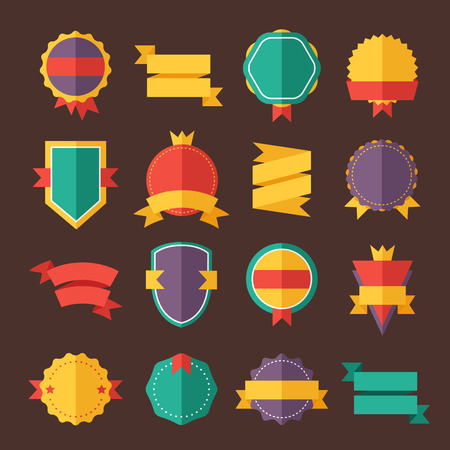 style: Modern flat design badges collection. Vector badges flat modern style. Vintage, retro flat badges, labels and ribbons. Badges isolated, modern flat solid style. Badges icons, badges vector. Badges icons