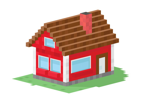 modern house exterior: Family house building vector illustration. 3d house building isolated on white background. Cottage home house 3d building. House vector, house building. 3d isometric view building vector construction Illustration