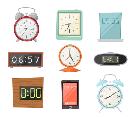alarms: Clock watch alarms vector icons illustration. Clock icons isolated on white background. Clocks, watch silhouette. Old, retro, modern and fashion clocks. Time tools icons, alarm, watch icons isolated on white