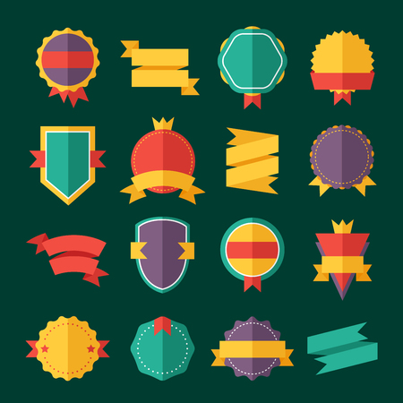 modern: Modern flat design badges collection. Vector badges flat modern style. Vintage, retro flat badges, labels and ribbons. Badges isolated, modern flat solid style. Badges icons, badges vector. Badges icons