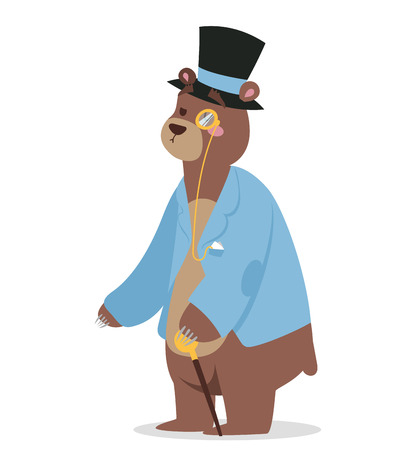 man in hat: Cartoon bear business man vector portrait illustration on background. Cartoon bear business man, bear vector. Selfie bear businessman. Vector bear isolated. Bear business man politician