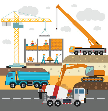 Building under construction, workers and construction technics vector illustration. Building mixer truck, crane vector. Under construction vector concept. Workers in helmet, construction machine isolated Ilustração