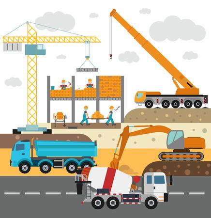 Gebäude im Bau, Arbeiter und Bau Technik Vektor-Illustration. Gebäude Mischfahrzeug, Kran Vektor. Unter Bau-Vektor-Konzept. Arbeiter in Helm, Baumaschine isoliert Vektorgrafik