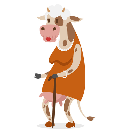 cow cartoon: Cow old woman vector portrait illustration on white background. Cartoon cow old woman, animal cow vector. Selfie shot cow woman human body. Vector cow animal isolated. Cow vector old woman