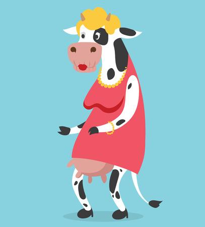 cartoon cow: Vaca vieja ilustraci�n vectorial retrato de la mujer en el fondo. Vaca de la historieta anciana, vector de la vaca animal. Selfie dispar� cuerpo humano mujer vaca. Aislado Vector vaca animal. Vaca vector anciana