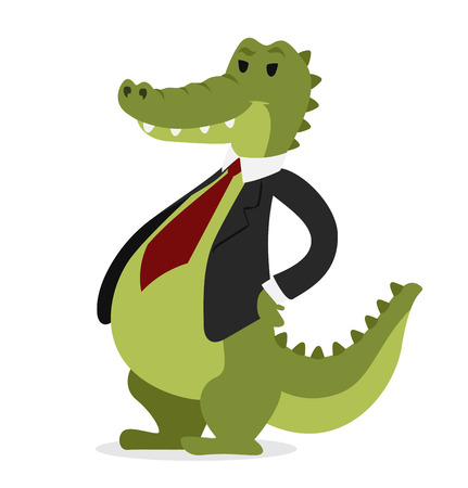 crocodile skin: Crocodile business man vector portrait illustration on white background. Cartoon crocodile business man.Selfie shot crocodile businessman. Vector crocodile isolated.Crocodile business man