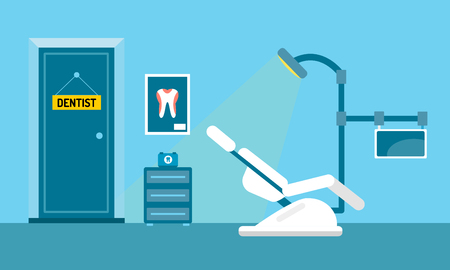 Dentist office illustration. Dentist doctor office vector. Dental care, tooth care tools, doctor office, tooth oral brush toothpaste. Dental clinic illustration vector. Dental care