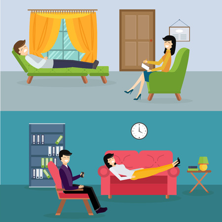 session: Psychologist office cabinet room vector illustration. Psychologist having psychological therapy session. Psychologist office illustration. Psychological therapy session illustration. Psychological therapy