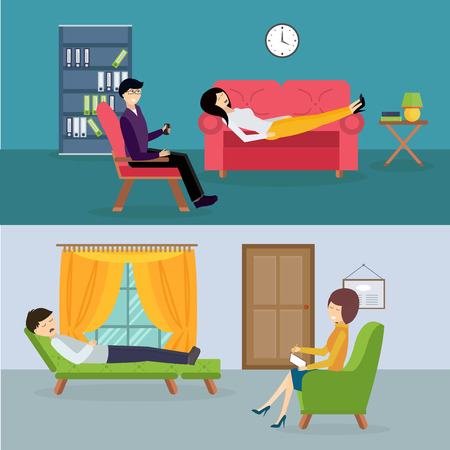 therapy: Psychologist office cabinet room vector illustration. Psychologist having psychological therapy session. Psychologist office illustration. Psychological therapy session illustration. Psychological therapy