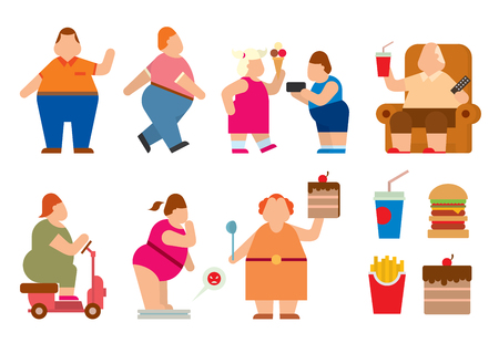 big belly: Fat people vector flat silhouette icons. Fat people body icons symbol. Fat people silhouette. Fat people problems. Fat mans, woman, kids children. Fat people food, sport, problems